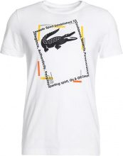 Lacoste Sport WINDOW LOGO Tshirt con stampa white/navy bluebuttercup/silver chine/apricot