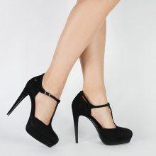 Sandali alti con plateau e cinturino a T
