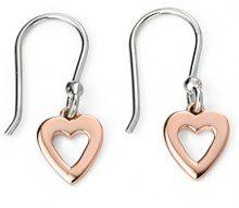 Elements Silver-Collana in argento Sterling, con orecchini in oro rosa a forma di cuore