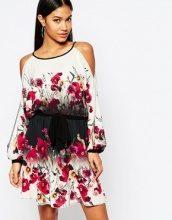 Lipsy - Vestito svasato con spalle scoperte, cintura e stampa floreale