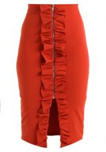 Lost Ink ZIP THROUGH RUFFLE PENCIL SKIRT Gonna a tubino coral