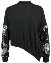 Lost Ink SEQUIN SLEEVE ASYMMETRIC Felpa black