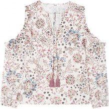 FIND Cold Shoulder Paisley  Camicia Donna, Bianco (Navy Mix), 48 (Taglia Produttore: X-Large)