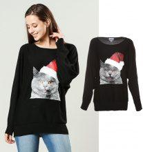 Pullover con gatto & berretto natalizio