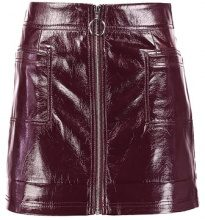 Topshop CRACKED ZIP Gonna a campana burgundy