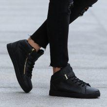 Sneakers alte con dettagli dorati