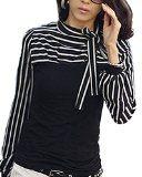ZANZEA Donna Camicetta Collare Del Mandarino Camicetta Maglietta Della Camicia a Righe Top