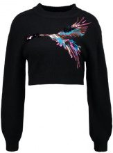 Lost Ink BIRD EMBROIDED JUMPER Maglione black