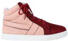 Sneakers alte bicolori in similpelle scamosciata