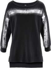 Pullover asimmetrico con glitter (Nero) - bpc bonprix collection