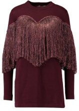 Lost Ink TINSEL TASSEL BODYCON DRESS Maglione burgundy