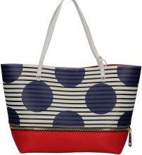 Borsa Shopping Patrizia Pepe  2V6353/A2NC Shopping Bag Donna Bianco/ Strisce Pois Blu