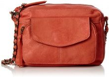 PIECES Ps Naina Leather Cross Over Bag - Borse a spalla Donna, Orange (Aragon), 5x15x21 cm (L x H D)