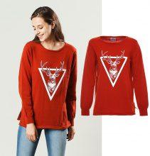Pullover leggero con stampa a renna