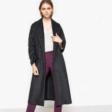 Cappotto lungo collo a scialle con cintura 52% lana