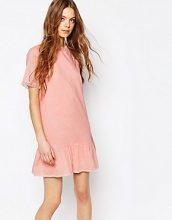 Vanessa Bruno Athe - Vestito in voile di cotone con vita scesa rosa con volant in tulle