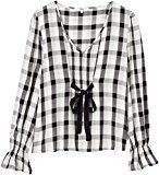 FIND Checked Tie Front  Camicia Donna, Multicolore (Black Mix), 44 (Taglia Produttore: Medium)