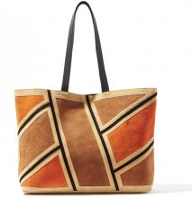 Borsa shopping patchwork in pelle