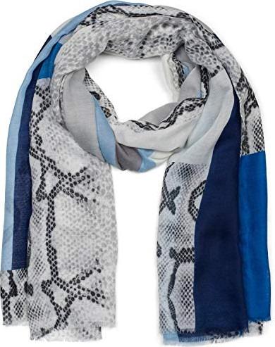stola 01017107 styleBREAKER sciarpa da donna a righe in stile batik con stampa metallica e frange foulard