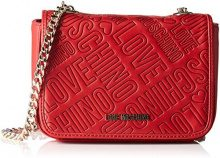 Love Moschino Borsa Embossed Pu Rosso - Borse a tracolla Donna, Rot (Red), 10x20x9 cm (B x H T)