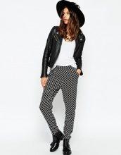 ASOS - Pantaloni in tessuto con pinces e stampa geometrica monocromatica
