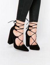 New Look - Scarpe stringate in camoscio sintetico con tacco largo