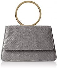 SwankySwansPiper Snakeskin Pu Leather Clutch Bags D Grey - Sacchetto donna , grigio (Grey (Charcoal)), Taglia unica