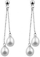 Bella Pearls Donna  925  argento Rotonda Goccia perla cinesa da coltivazione bianco Perla FINEEARRING