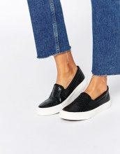 Missguided - Scarpe da ginnastica di tela effetto coccodrillo senza lacci