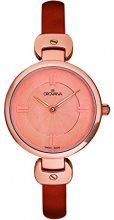 Grovana-Orologio da donna al quarzo, con Display analogico e cinturino in pelle, 4481,1566, colore: rosso