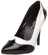 Pleaser - SEDUCE-425, Scarpe col Tacco Classiche Donna, Color Bianco (Blk-Wht Pat), Talla 35 EU (2 Damen UK)