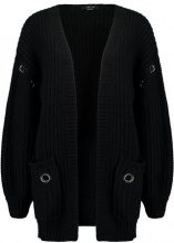 Lost Ink EYELET CHUNKY Cardigan black