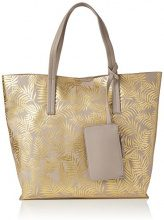 New Look Metalic Palm Print                      - Borse Tote Donna, Gold, 41x12x35 cm (W x H L)