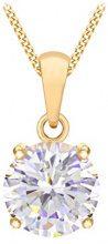 Tuscany Silver Collana Catenina con Pendente da Donna in Argento Sterling 925, Placcato con Oro Giallo, con Zirconio Cubico, 46 cm