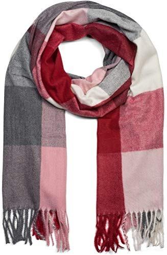 unisex 01017099 foulard styleBREAKER Sciarpa spessa con motivo a quadri e a righe e frange sciarpa invernale stola