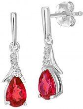 Naava Donna  9 carati  oro bianco Rotonda   rosso Rubino artificiale Diamante