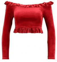 New Look FRILL CROP PEPLUM Maglietta a manica lunga red