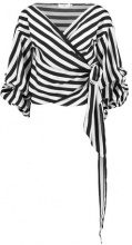 Missguided STRIPED PUFFBALL SLEEVES TIE WAIST  Camicetta black/white