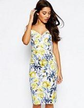 ASOS - Hitchcock - Vestito midi stile Bardot con spalle scoperte giallo e blu a fiori
