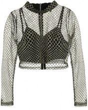 Missguided GRID GLITTER HIGH NECK CROP Maglietta a manica lunga black