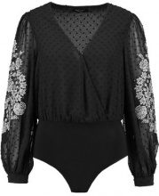 New Look PREMIUM JACK HEAT FIX EMBROIDERED WRAP BODY Camicetta black