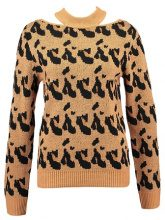 Missguided Tall LEOPARD PRINT CUTAWAY NECK  Maglione tan
