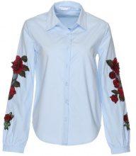 Blusa con ricami a rose sulle maniche