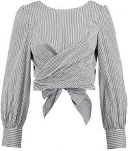Missguided STRIPE POPLIN TIE BACK BLOUSE Camicetta grey
