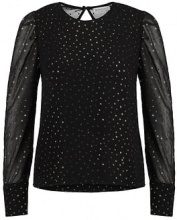 Warehouse GLITTER PUFF SLEEVE  Camicetta black/gold