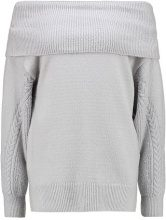 Topshop CABLE SLEEVE BARDOT  Maglione light grey