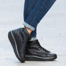 Sneakers fitness alte con glitter