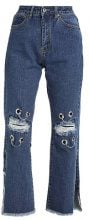 Liquor N Poker LAX MOM JEAN WITH EYELET AND RIPPED KNEE Jeans baggy stonewash
