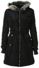 Cappotto trapuntato con colletto in pelliccia sintetica
