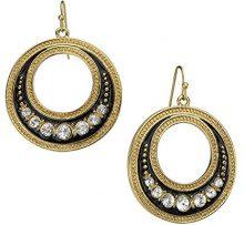 1928 Jewelry-Orecchini in oro e smalto nero, con dettagli in cristallo, orecchini a cerchio anteriore verso l'interno